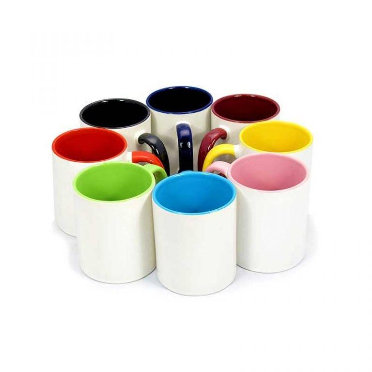 چاپ روی لیوان دسته و داخل رنگی